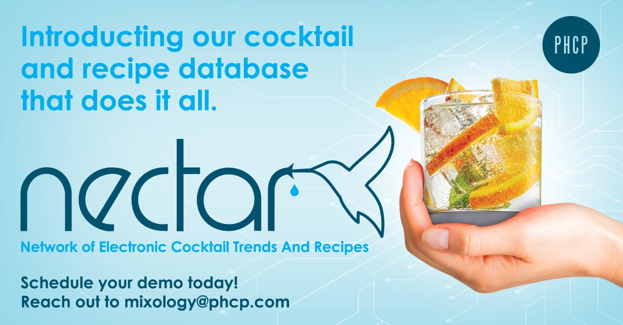 Introducing our cocktail and recipe database that does it all. Nectar, network of electronic cocktail trends and recipes. Schedule your demo today! Reach out to mixology@phcp.com